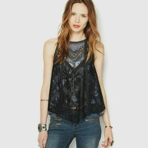 Free People Lace Side Tie Boho Tank Top